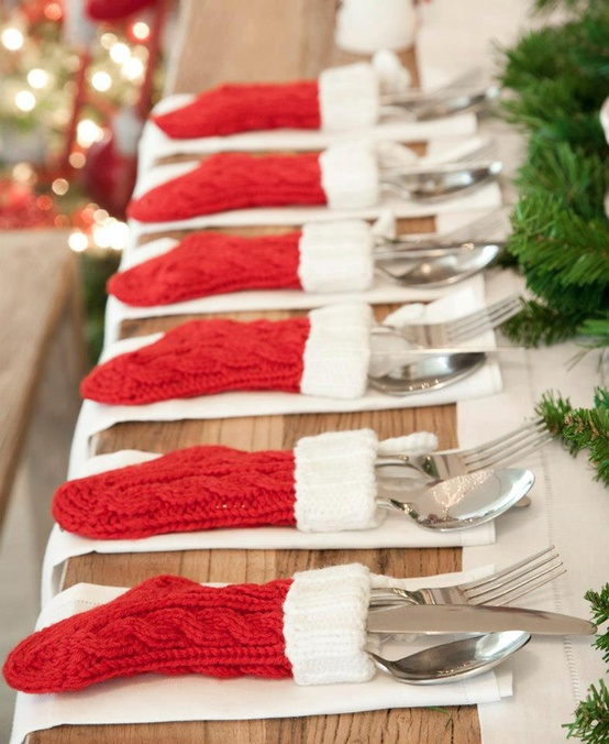 asheville north carolina interior designer kathryn greeley uses stocking utensil holders to add a festive touch to her holiday and Christmas tabletop decor and decorations