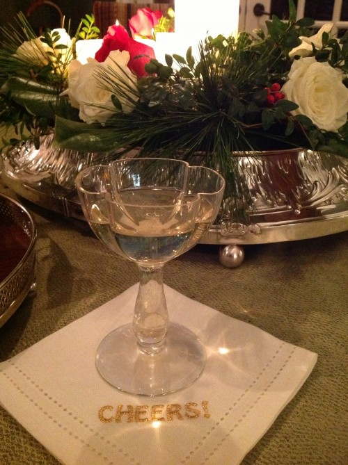 north carolina interior designer kathryn greeley uses antique moser champagne glasses to dazzle quests at new years eve celebration at chesnut cottage in waynesville north carolina